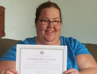 "Melisa: President ""I have been with the company for 21 years. I started out as a staff accountant, put myself through college, and currently earned my Enrolled Agent License. I inherited the business in 2016 and have been running it ever since."""